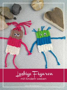 Lustige Figuren mit Kindern weben – mit Strohhalmen Funny figures with children weave – with straws – fantasy plant Straw Weaving, Weaving For Kids, Loom Weaving, Yarn Crafts, Diy And Crafts, Arts And Crafts, Creative Crafts, Weaving Projects, Knitting Projects