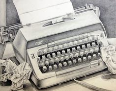 GREAT drawing prompts!! typewriter drawing - great still life idea