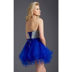 Clarisse 2651 Homecoming Dress Mini Strapless Sleeveless ($210) ❤ liked on Polyvore featuring dresses, formal dresses, royal, short blue dresses, cocktail prom dress, short homecoming dresses, short dresses and short formal dresses