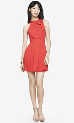 TIE NECK FIT AND FLARE HALTER DRESS - RED from EXPRESS