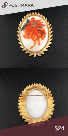 "Vintage Holiday Porcelain Cameo Brooch Great throw-back Brooch! Vintage white Porcelain Cameo Brooch depicting a red poinsettia and bow motif. Measures  2"" x 1-1/2"". In excellent preowned vintage condition. Vintage Jewelry Brooches"