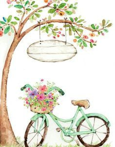 Bicycle with flowers illustration in watercolor Bicycle Painting, Bicycle Art, Bicycle Drawing, Decoupage, Diy And Crafts, Paper Crafts, Happy Birthday Greetings, Birthday Images, Watercolor Paintings