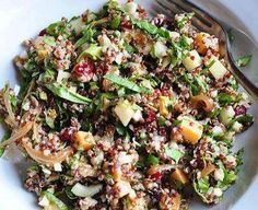 1-1/2 cups quinoa Sea salt  5 Tbs. extra-virgin olive oil 1 large red onion 2 Tbs. balsamic vinegar rocket  aged Gouda celery stalks apple Fuji or Pink Lady 1c walnuts 1 cup fennel 3/4c  cranberries 3 Tbs. sherry vinegar pepper  rinse the quinoa with water, rubbing it between your fingers for about 10 seconds. Drain. Add 2-1/2 cups water and 1/2 tsp. sea salt and bring to a boil over medium-high heat.  simmer, covered, until the quinoa is tender but still delicately crunchy, about 15…