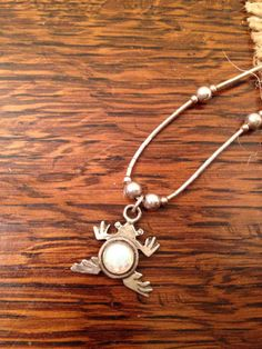 SOLD...Sterling silver frog pendant necklace by burlapvintagekc on Etsy
