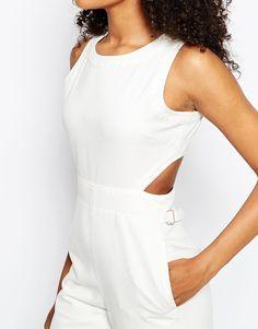 Image 3 ofASOS Denim Wide Leg Cut Out Jumpsuit In White