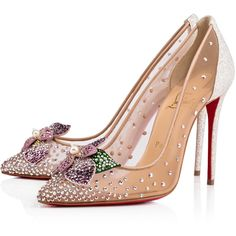 Feerica 100 Version Ab Strass - Women Shoes - Christian Louboutin ($1,495) ❤ liked on Polyvore featuring shoes, glamorous shoes, swarovski crystal shoes, colorful shoes, blossom footwear and christian louboutin