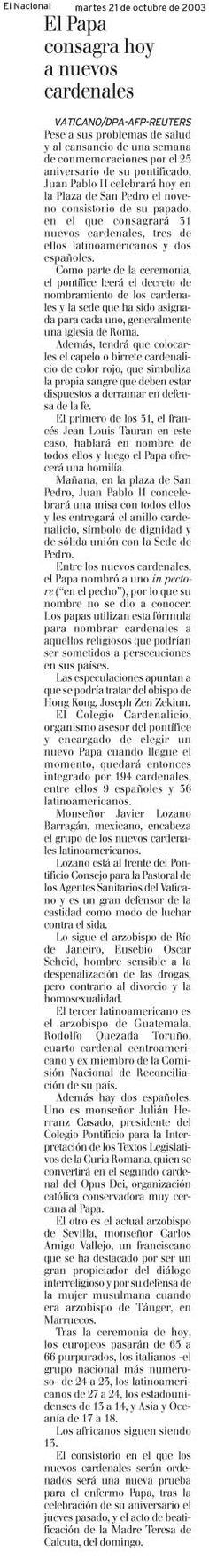 En el 2003 el papa Juan Pablo II beatificó a la Madre Teresa de Calcuta.  Publicado el 21 de octubre de 2003