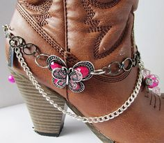 Shabby Chic and girly BOOT JEWELRY for wearing as dressy formal wear for your boots with Pink Butterfly