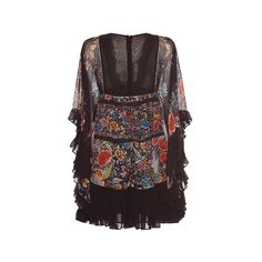 Roberto Cavalli Georgette Ruffle Trim Mini Dress (106,210 DOP) ❤ liked on Polyvore featuring dresses, roberto cavalli dresses, sheath cocktail dress, sleeved dresses, short dresses and long-sleeve mini dress