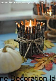 How to Make Rustic Twig Candles - - Personalize store-bought candles by turning them into rustic twig candles using fallen branches in your yard. A quick, easy project with plenty of appeal! Twig Crafts, Rustic Crafts, Country Crafts, Nature Crafts, Diy Home Crafts, Craft Stick Crafts, Fall Crafts, Wood Crafts, Christmas Crafts