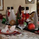 An array of sparkling trees and ornaments help set the tone for this festive dining with Nutcrackers! I placed duplicate nutcra. Nutcrackers, Christmas Tablescapes, Christmas Vacation, Festive, Whimsical, Table Settings, Houses, Table Decorations, Dining