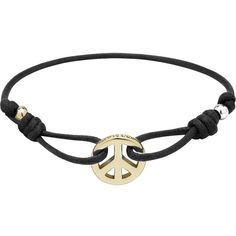 Peace Friendship Bracelet Black Waxed Cord - Mulberry