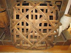 "Primitive Antique Woven Wood Slat Tobacco Basket Wall Hanging 36""x40"" NC #NaivePrimitive"