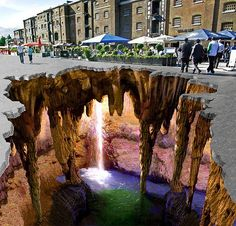 chalk art. No way!?! Is that real? If it is there is no way I could walk on it. It would freak me out!