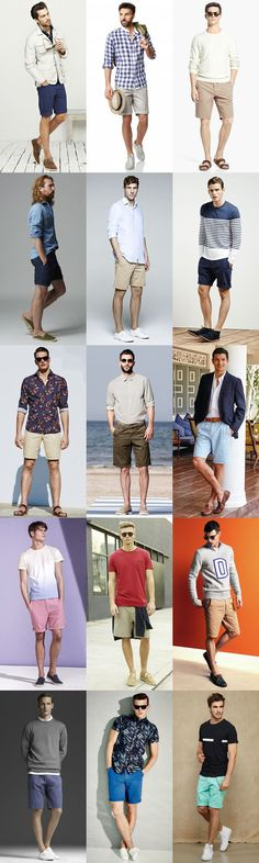 Men's Chino Shorts and Footwear/Shoes Combinations Outfit Inspiration Lookbook #mensfashion #summer More fashion looks:http://bit.ly/1C5bd8J