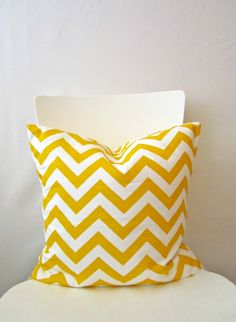 18 inch throw pillow cover, Chevron yellow and white. Zigzag pattern, modern print. For indoor use.. $13.95, via Etsy.