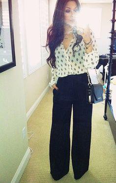 Black trouser pant, print sheer blouse, simple small bag