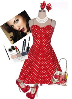"""""""polka dot pin up"""" by craftiworks on Polyvore"""