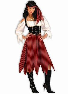 66ce82c2742 WOMENS PIRATE MAIDEN HALLOWEEN COSTUME one size fits most 2pc SET NIP! Adult