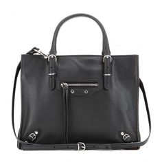 Balenciaga Mini Papier A4 Zip Around Leather Shoulder Bag ($1,190) ❤ liked on Polyvore
