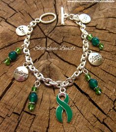 Green Ribbon Awareness Bracelet by StarshineBeads on Etsy