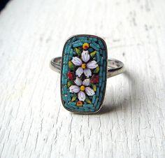Vintage Italian Silver Micro Mosaic Ring by BlueOnionCurios