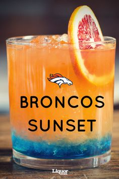 For the 2016 NFL season, we had a bartender from each team's hometown provide the perfect cocktail to represent their team. For the Denver orange and blue are showcased with a mixture of deliciousness including blue curaçao, chile liqueur, Denver Broncos Football, Go Broncos, Football Food, Cincinnati Bengals, Pittsburgh Steelers, Orange Drinks, Orange Juice, Orange Cocktail, Tequila Drinks