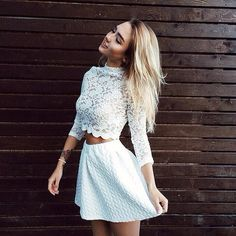 Popular homecoming dresses,two pieces short homecoming dresses,white lace homecoming dresses,long sleeves short homecoming from Bridals Wish Long Sleeve Homecoming Dresses, Cheap Short Prom Dresses, Two Piece Homecoming Dress, Hoco Dresses, Two Piece Short Dress, Dance Dresses, Blusas Top, White Lace Shorts, Vogue