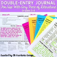 This double entry journal for use as a reading activity for any novel is a GREAT way to assess students! We've included numerous ways for this journal to be utilized by giving students choices for not only the piece of literature they pick, but also for