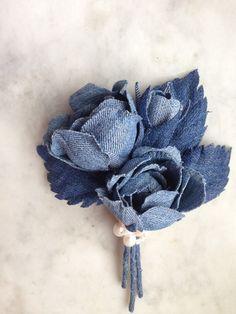 Denim rose brooch denim wedding roses denim by denimFlowers