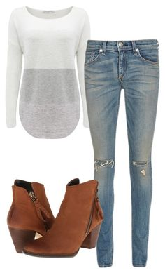 """""""Elena Gilbert Inspired Outfit"""" by mytvdstyle ❤ liked on Polyvore featuring Forever New, rag & bone/JEAN, Steve Madden, women's clothing, women's fashion, women, female, woman, misses and juniors"""