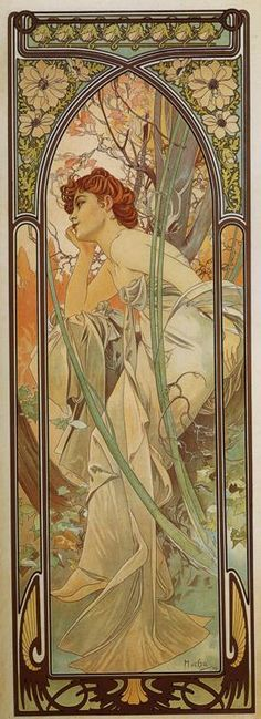 "A beautiful print I bought in Prague by Alfonso Mucha called ""Evening"""