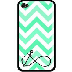 NEW-PERSONALIZED-FRESH-MINT-GREEN-CHEVRON-ANCHOR-CASE-COVER-FOR-IPHONE-4-4-s