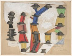 * The Hat Makes the Man (1920) - Max Ernst (1891–1976) Ernst's appreciation for visual and linguistic puns was likely fostered by Freud's book Jokes and Their Relation to the Unconscious. Here, Ernst cut, pasted, and stacked photographs of men's hats clipped from a sales catalogue to make phallic towers.