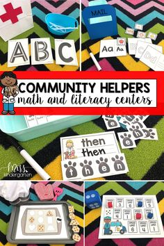 These community helpers actives and centers are the perfect addition to your preschool, kindergarten, or first grade curriculum. These math and literacy centers cover important kindergarten skills while incorporating pretend play. #communityhelpers #centers