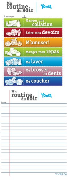 Routine du soir à découper - vocabulary for routine actions in French - cut and… French Teacher, Teaching French, How To Speak French, Learn French, French Verbs, Education Positive, Core French, French Classroom, Maila