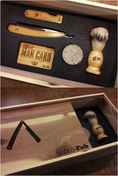 Packaged in a repurposed aromatic cedar cigar boxes from a shop in Northern Texas, this brand new set handmade by MiniFab includes: (1) Custom monogrammed straight razor, (2) Silvertip badger shaving brush, (3) Mustache comb, (4) Leather strop, (5) Shave soap. Each set fits snugly into a foam and cork insert.