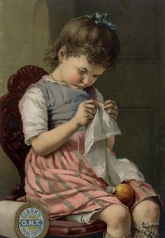 Girl in Chair Sewing Cloth
