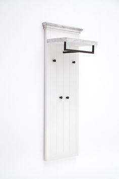 Garderobenpaneel Elsa Massivholz / Kiefer weiß passend zum Möbelprogramm Elsa 1 x Garderobenpaneel mit 1 Hutablage 1 Kleiderstange und 4 Kleiderhaken Maße: B/H/T ca....#flur #kleiderpaneel #garderobenpaneel