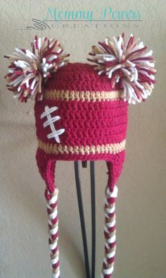 SF 49er Football Crochet Pom Pom hat810 by MommyPowersCreations, $24.00