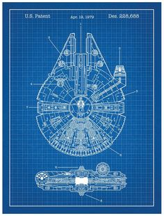 Star Wars Millennium Falcon Design Patent Art Poster •  Star Wars Millennium Falcon - Blue print poster •  Hand Crafted by Artisan Printers using a tried and true technique to create vivid designs. • ...