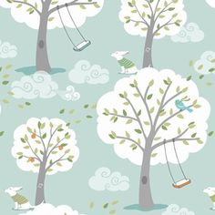 Would make lovely curtains, I think.    Patty Sloniger - Backyard Baby - Windy Day in Aqua