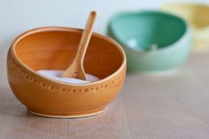 Salt Cellar & Spoon Made to order   Lots of color options... via vesselsandwares on Etsy