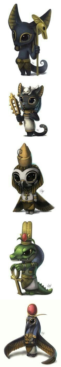 I never knew the deadly and ferocious Egyptian gods could be so cuddly.