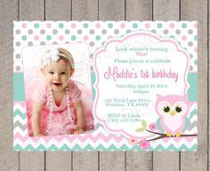 Invitación del cumpleaños del buho chica por VividLaneDesigns