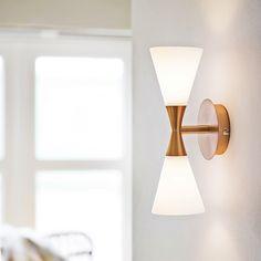 Harlekin Duo Vegglampe, Kobber/Hvit - Herstal - 800 kr