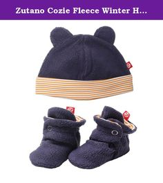 Zutano Cozie Fleece Winter Hat and Baby Bootie Set Navy Blue / Orange - 12M. Zutano Fleece Booties and Hat Set: Zutano fleece baby booties and baby cap are soft comfortable and warm. Fleece Booties: The loose fitting soft sole design is perfect for delicate little feet. Booties have a unique two-snap design and soft elastic around the ankle that helps the booties stay on. our customers purchase these adorable booties season after season. Customers rave reviews say Zutano booties actually...