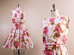 1950s day dress // white pink & brown full skirt // vintage 50s dress //