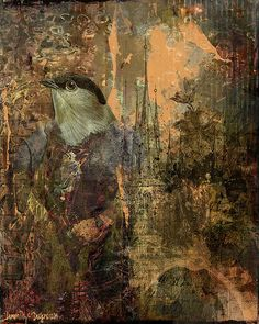 This bird man design is grungy and peeling. It's like he's pecking through layers of old wallpaper. By Citra Artist: Christy RePinec, LemonTrystDesigns©2014, Citra Solv art.