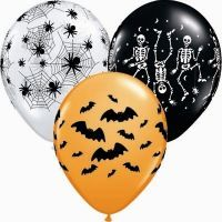 Spooky Decorated Balloons - 28cm.  Spooky Design 28cm assorted helium quality balloons with pictures of webs, bats, & skeletons  Great decorating idea!!